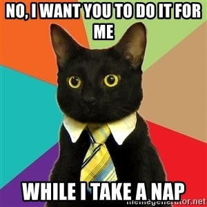 Business Cat - No, I want you to do it for me while i take a nap