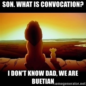 Simba - son. what is convocation? I don't know dad, we are buetian