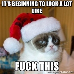 Grumpy Cat Santa Hat - it's beginning to look a lot like fuck this