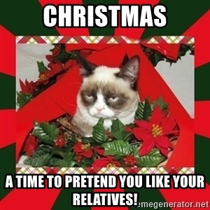 GRUMPY CAT ON CHRISTMAS - christmas a time to pretend you like your relatives!