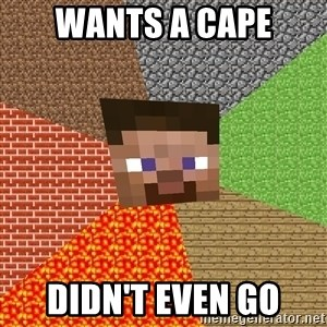 Minecraft Guy - wants a cape didn't even go