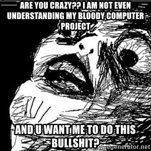 Extreme Rage Face - ARE YOU CRAZY?? I AM NOT EVEN UNDERSTANDING MY BLOODY COMPUTER PROJECT AND U WANT ME TO DO THIS BULLSHIT?