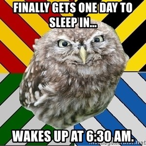 JEALOUS POTTEROMAN - Finally gets one day to sleep in... Wakes up at 6:30 am.