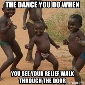 african children dancing - The dance you do when  you see your relief walk through the door
