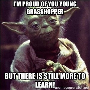 Advice Yoda - I'm proud of you young Grasshopper But there is still more to learn!