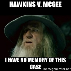 no memory gandalf - Hawkins v. McGee I have no memory of this case