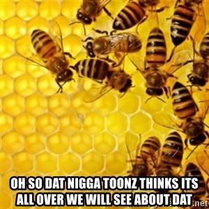 Honeybees -  Oh so dat nigga toonz thinks its all over we will see about dat