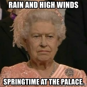 Unimpressed Queen Elizabeth  - Rain and high winds Springtime at the palace.