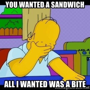 Homer Facepalm - You wanted a sandwich  All I wanted was a bite