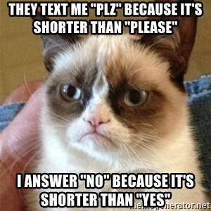 Grumpy Cat  - They text me ''plz'' because it's shorter than ''Please'' I answer ''no'' because it's shorter than ''yes''