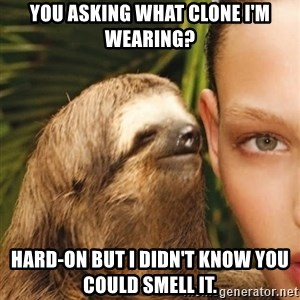 The Rape Sloth - you asking what clone i'm wearing? Hard-on but i didn't know you could smell it.