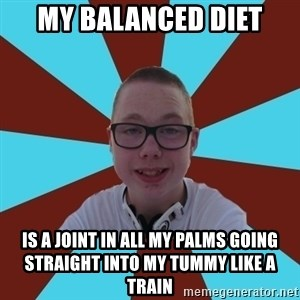 Tamas Weed Abuser - My balanced diet is a joint in all my palms going straight into my tummy like a train