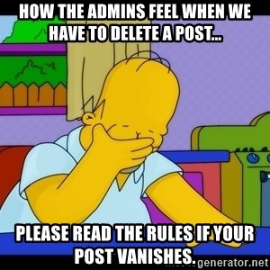 Homer Facepalm - How the admins feel when we have to delete a post... Please read the rules if your post vanishes.