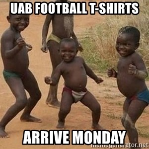 Dancing African Kid - UAB Football t-shirts arrive monday
