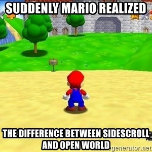 Mario looking at castle - SUDDENLY MARIO REALIZED  THE DIFFERENCE BETWEEN SIDESCROLL AND OPEN WORLD
