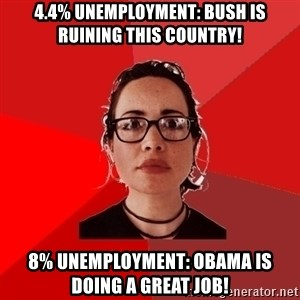 Liberal Douche Garofalo - 4.4% unemployment: Bush is ruining this country! 8% unemployment: Obama is doing a great job!