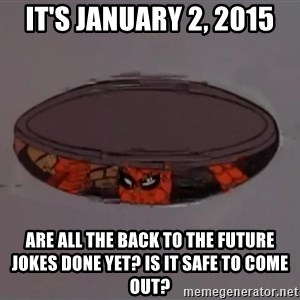 Spiderman in Sewer - It's January 2, 2015 Are all the Back to the Future jokes done yet? Is it safe to come out?
