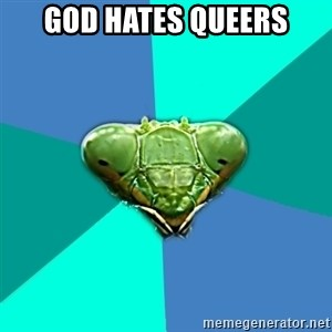Crazy Girlfriend Praying Mantis - God hates queers