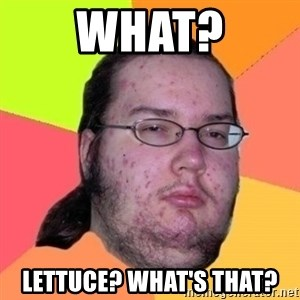 Fat Nerd guy - What? Lettuce? What's that?