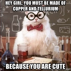Chemistry Cat - hey girl, you must be made of copper and tellurium because you are CuTe
