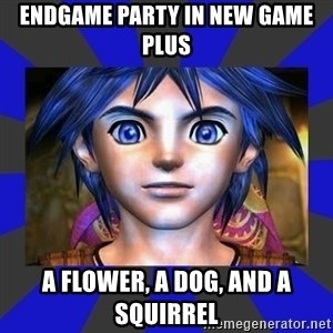 Serge Chrono - endgame party in new game plus a flower, a dog, and a squirrel