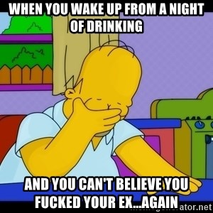 Homer Facepalm - When you wake up from a night of drinking and you can't believe you fucked your ex...Again