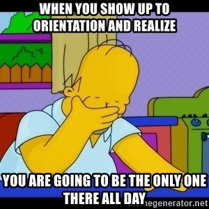 Homer Facepalm - when you show up to orientation and realize you are going to be the only one there all day