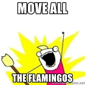 x all the y - Move all  The flamingos