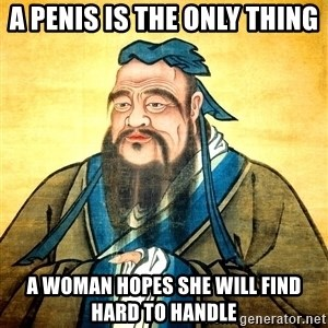 Confucius Say What? - A penis is the only thing a woman hopes she will find hard to handle