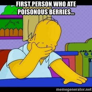 Homer Facepalm - first person who ate poisonous berries...