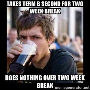 Bad student - Takes term B second for two week break Does nothing over two week break