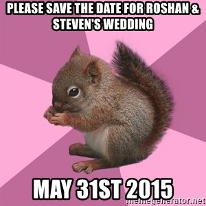 Shipper Squirrel - Please save the date for Roshan & Steven's wedding May 31st 2015