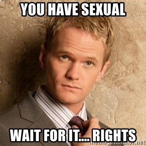 BARNEYxSTINSON - You have sexual wait for it.... rights