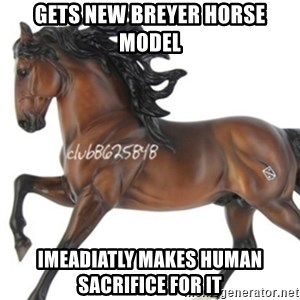 Typical horse model collector - gets new breyer horse model imeadiatly makes human sacrifice for it