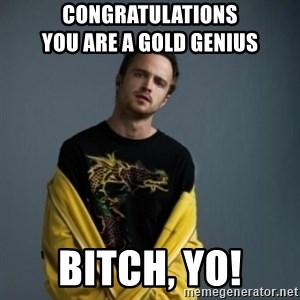 Jesse Pinkman - congratulations                      you are a gold genius bitch, yo!