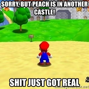 Mario looking at castle - Sorry, but peach is in another castle! Shit just got real