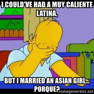 Homer Facepalm - I could've had a muy caliente Latina, but I married an Asian girl... Porque?