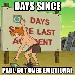 days since - Days since Paul got over emotional