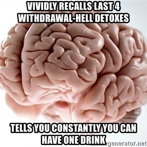 Scumbag Brainus - vividly recalls last 4 withdrawal-hell detoxes tells you constantly you can have one drink