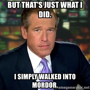 Brian Williams War Stories  - But that's just what I did.  I simply walked into Mordor.