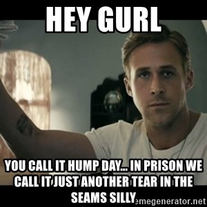 ryan gosling hey girl - hey gurl you call it hump day... in prison we call it just another tear in the seams silly