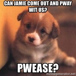 cute puppy - Can Jamie come out and pway wit us? Pwease?