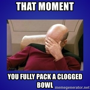 Picard facepalm  - That moment you fully pack a clogged bowl
