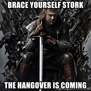 Eddard Stark - Brace yourself Stork THe hangover is coming