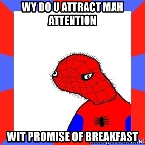 Spodermin - wy do u attract mah attention wit promise of breakfast