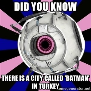 """""""Did you know"""" Fun Fact sphere  - did you know  there is a city called 'Batman' in Turkey"""