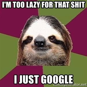 Just-Lazy-Sloth - I'm too lazy for that shit I just google