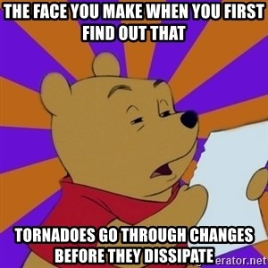 Skeptical Pooh - The face you make When you first find out that  Tornadoes go through changes before they dissipate