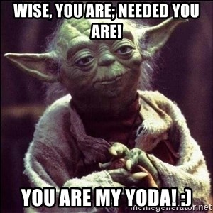 Advice Yoda - Wise, you are; needed you are! You are my Yoda! :)