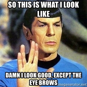 Spock - so this is what I look like damn I look good, except the eye brows